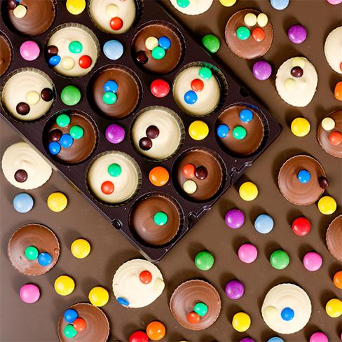 Chocoladeflikken met smarties