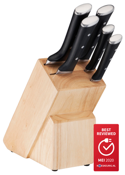Tefal Ice Force 6-delige set: 5 roestvrijstalen messen + 1 houten messenblok